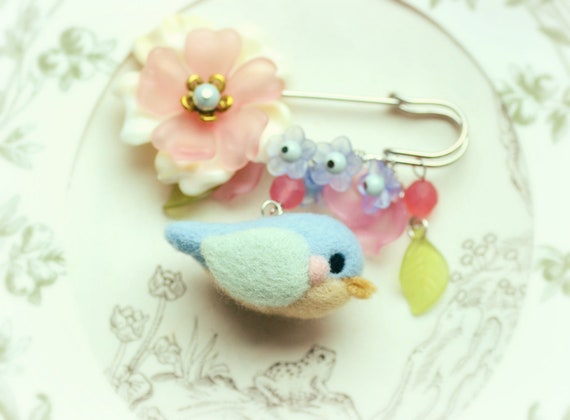 Blue and green wool needle felted bird with flowers pin / brooch