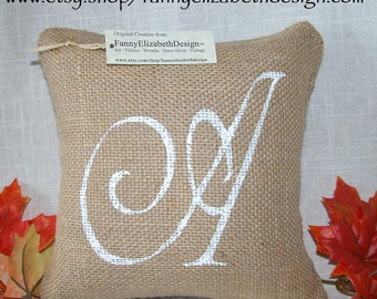 "Sm. Burlap Initial Pillow FREE SHIPPING 8""x 8""- Decorative Pillow- Burlap Pillow-  Accent Pillow- Letter Pillow"