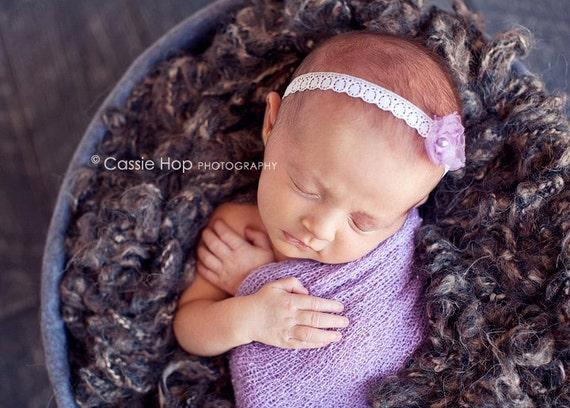 Sweet Purple Flower on Lace Tie Back Headband Photography Prop Newborn or Baby