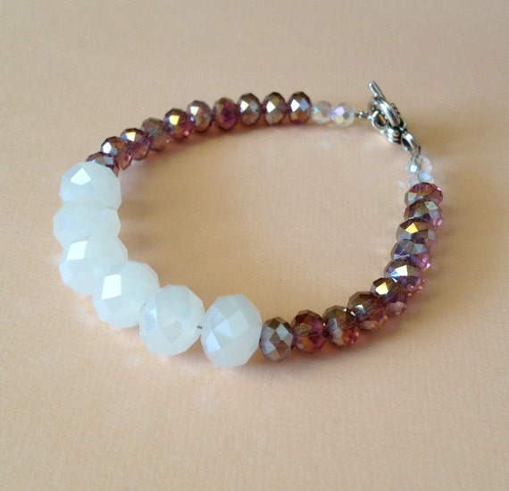 adoption fundraiser purple and white bracelet 7 5 inches