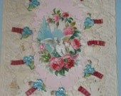 1850 Esther Howland Valentine 3-D Floral Embossed Lace FREE Shipping USA