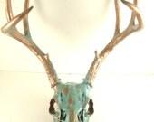 Large Copper Natural Aqua Patina Deer Painted Skull Antlers Art Sculpture