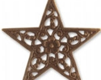 Vintaj 45mm Star Trellis  - Natural Brass