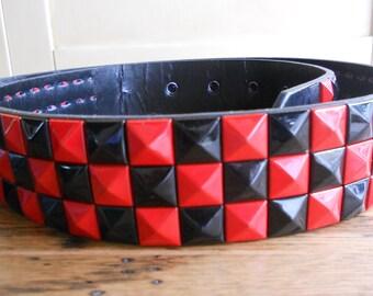 Vintage Leather Belt  Black with Red Black Studs Michael Jackson 80's Large