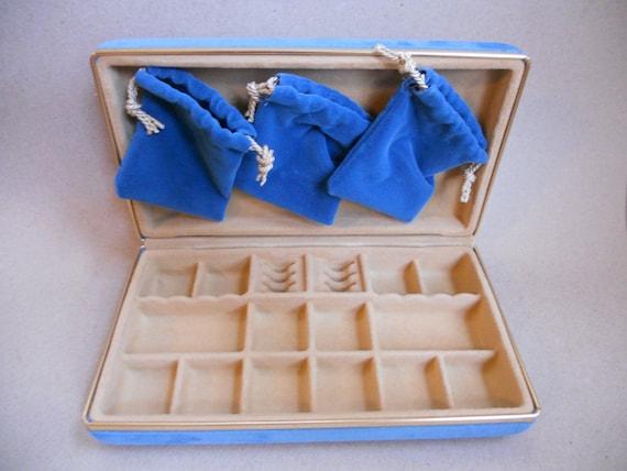 RESERVED Box Travel Case Blue Velvet  BagsRESERVED