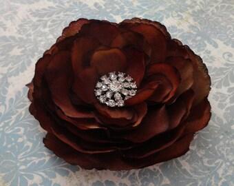 Womens Chocolate Brown Ranunculus Flower Hair Clip or Brooch w/Rhinestone - Teenagers Flower Clip - Girls Hair Clip