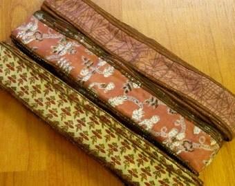 20 yards Silk Sari Ribbon, Silk Trim, H59