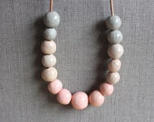 ETSY LOOKBOOK 2015 - Handmade ceramic necklace - fading pink, cream and gray beaded necklace