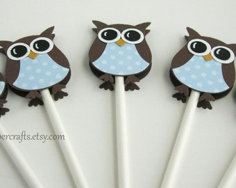 Baby Blue Owl Cupcake Toppers- Owl Baby Shower Decorations..set of 12
