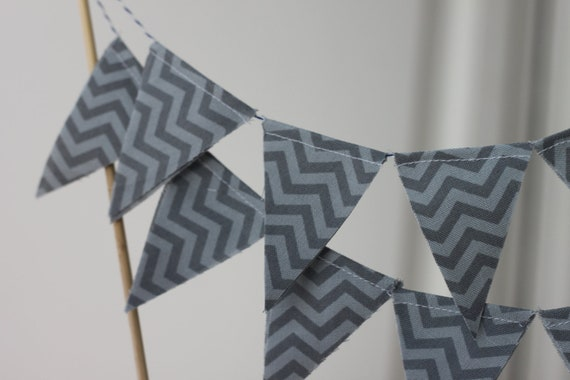 Chevron Cake Topper, Cake Bunting, Cake Decoration, Small Fabric Banner, Bunting