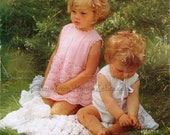 Crochet Knit Baby Dress B006 PDF Vintage Pattern Dress Shawl Shell Panties from WonkyZebraBaby