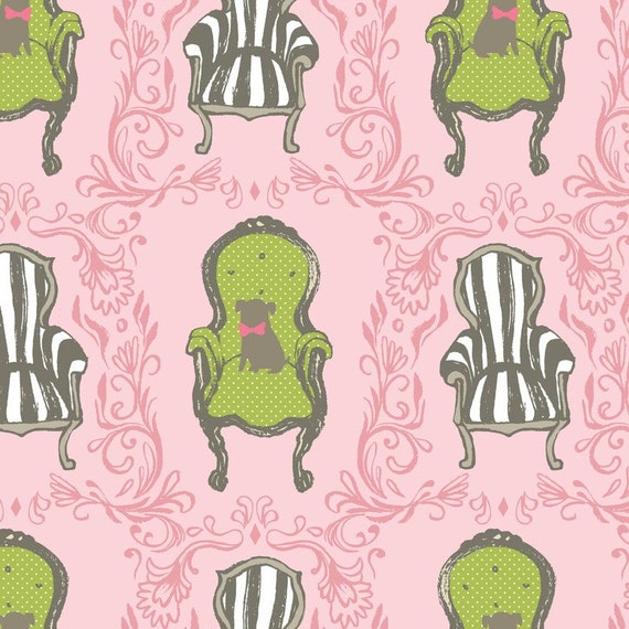 Cushion & Dust - Queen Anne Chairs in Pink - Blend Fabrics- 1 yard, Additional Yardage Available