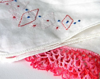 Vintage Handkerchief Set Women Pink White Linen