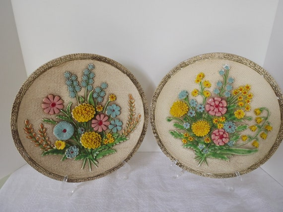 Vintage Retro Pair Of Universal Statuary Corporation Floral Plaster Plaques Signed And Dated Circa 1966