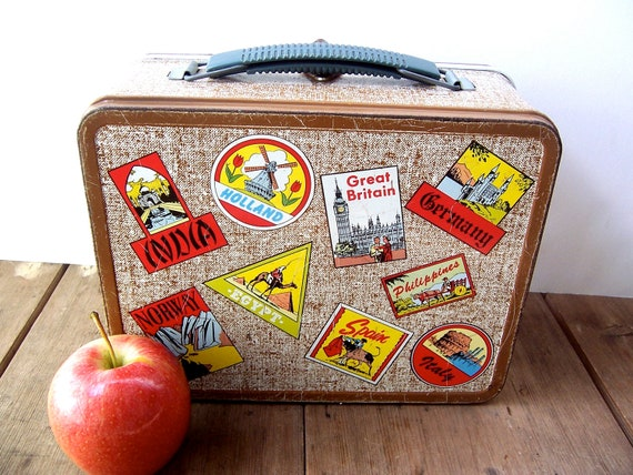 Vintage Metal Lunch Box -- Storage / Organizer