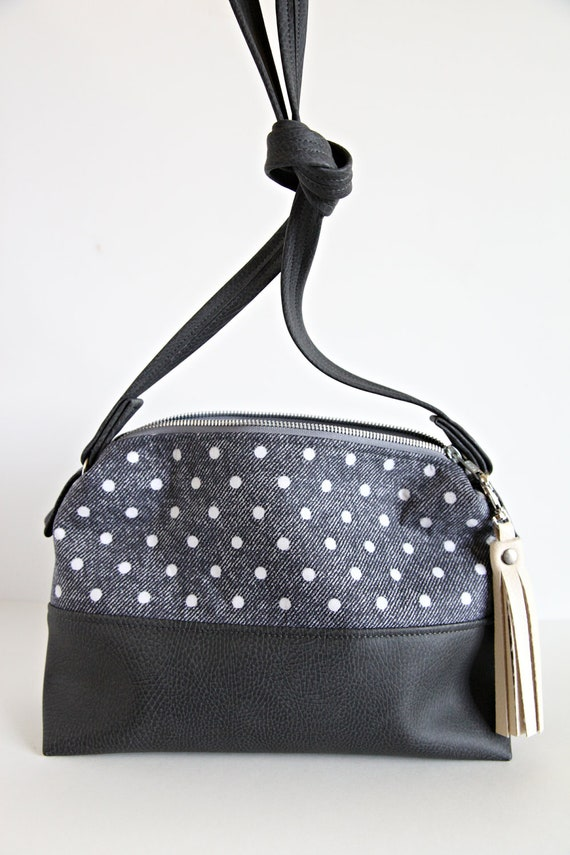 Purse, bag, over the shoulder bag, mini purse, polka dot, gray, vegan leather