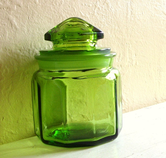 Modern Green Glass Jar with Frosted Ground Lid Unique