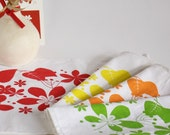 Four Linen Placemats hand printed with colorful leaves - set of 4 - Exclusive designer fabric