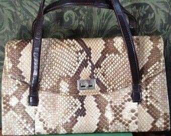 1940s Vintage Python Purse Exotic and Classic Perfect Fall Accessory Must Have