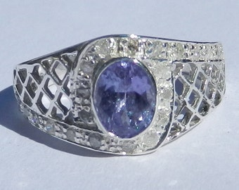 Natural 1.25 Carat Tanzanite & Diamond Ring Solid 925 Sterling Silver