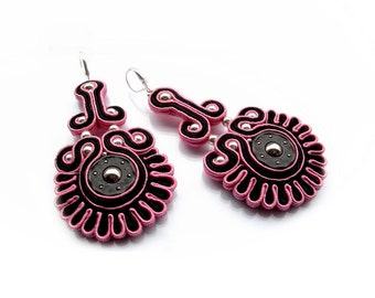 Soutache chunky earrings elegant, unusual and eye-catching, perfect for the spring and summer - King's Stamp 3