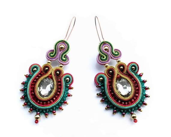 Soutache earrings or studs or clip earrings - elegant, colorful, classy and unusual - Sforza 1