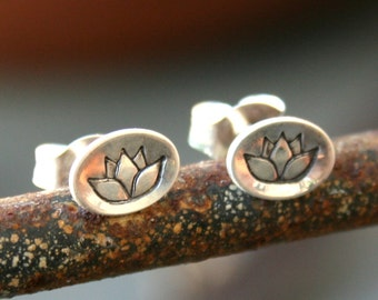 Sterling Silver Oval Post Earrings - Sweet Lotus