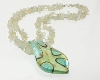 Two Strand Necklace of  Aquamarine Chips and Pearls, with Dichroic Pendant