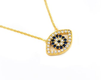 Free Domestic Shipping Sterling Silver Gold Color Evil Eye Necklace Gold, Blue, CZ, Gold, Eye, Evil, Necklace, Unique, Modern, Design, Gift