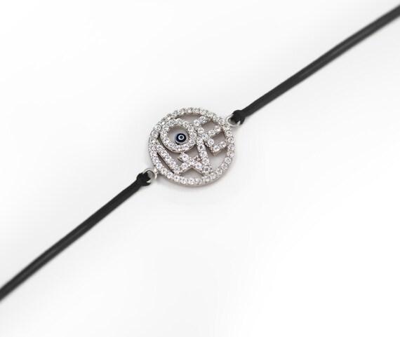 Free Domestic Shipping Silver Color Love with Dark Blue Evil Eye Bracelet Black Chord
