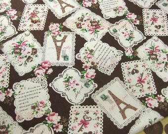 LF095 - Linen Cotton Blended Fabric - Patch - Rose and tower - coffee   - 1/2  yard