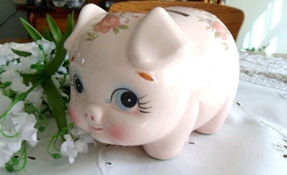 Pink Floral Piggy Bank Lefton China Coin Bank