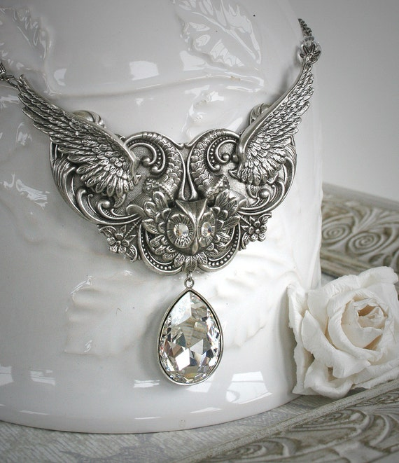 WINTER WINGS romantic vintage fantasy inspired snowy owl necklace with large Swarovski crystal, free gift boxing