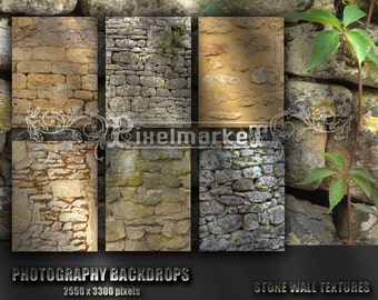 Photography BACKDROPS Antique French STONE WALLS Background Texture Digital Pack for Photographer Printable Download Natural Stone Bk1