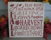 Fall / Autumn / Harvest  -- Painted Wooden Typography Subway Art Sign