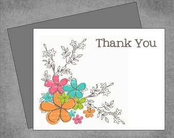 Gray, Teal, Pink & Lime Green Flowers with Branches - Personalized Custom Note Cards - Flat or Folded - Thank You or Hostess Gift - Sommer