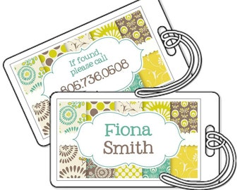 Personalized Bag Tags Laminated - Teal Lime and Brown Modern - Set of 2 - Luggage Tags