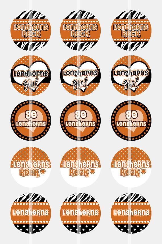 Longhorns Rock 2 - Digital Collage Sheet - 1 Inch Digital Bottle Cap Images - BUY 2 GET 1 FREE