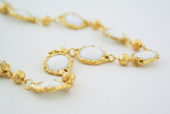 Necklace - Gold and White Bezel Link Beaded Statement
