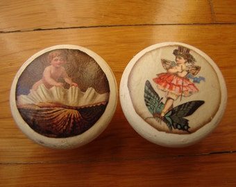 Victorian fairy,cherub children,Pair French ivory painted door/cabinet /drawer wooden knob/handles.