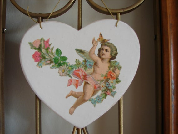 vintage shabby chic,Victorian style cherub/flowers decoupage,French-painted wooden heart.