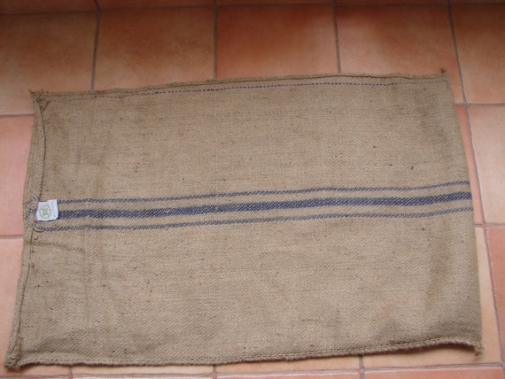 Large Burlap/Hessian/jute Indian Grain sack-blue stripes 44 '' x 28''