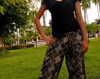 Thai Fisherman Pants, Cotton, Batik, Black & White Mixed Design