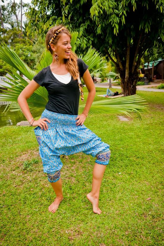Short Thai Harem Pants, Cotton, Batik, Blue w Royal Gold Design (S-XL) one size fits all