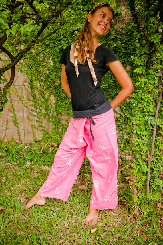 Thai Fisherman Pants, Cotton, Pink w Fringes UNISEX (S-XL) one size fits all