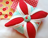 Last One! Happy Little Pincushion - Cathedral Window Pincushion - Pin Cushion - Moda Ruby - Red and Aqua - 4 inch