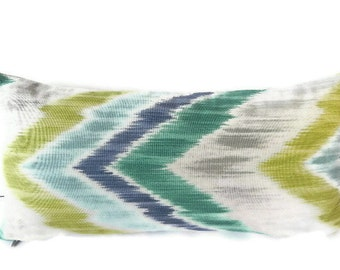 Braemore Ikat Chevron Decorative Pillow Cover 10X20-Home Decor Fabric-Throw Pillow-Living Room Pillow-Lumbar Pillow-Blue-Green
