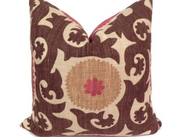 Suzani BOTH SIDES 20X20 Fahri Clove Pillow Cover Designer Home Decor Fabric-Throw Pillow-Accent Pillow-Living Room Pillow-Red