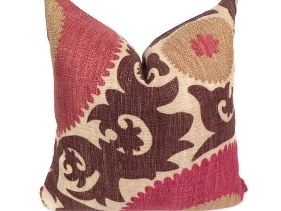 Suzani both sides 20x20 fahri clove pillow cover by pillowchix for 20x20 living room