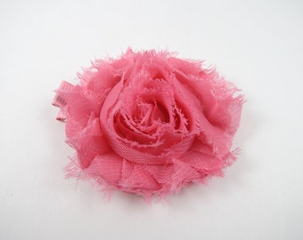 Pink Shabby Flower Hair Bow - Flower Hair Bow - Shabby Chiffon Hair Clip - Infant Toddler Child Teenager Hair Clip